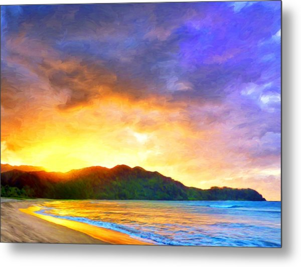 Hanalei Sunset Metal Print
