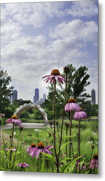 Hancock As Seen Through Flowers Metal Print by Michael  Bennett