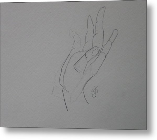 Metal Print featuring the drawing Hand by AJ Brown