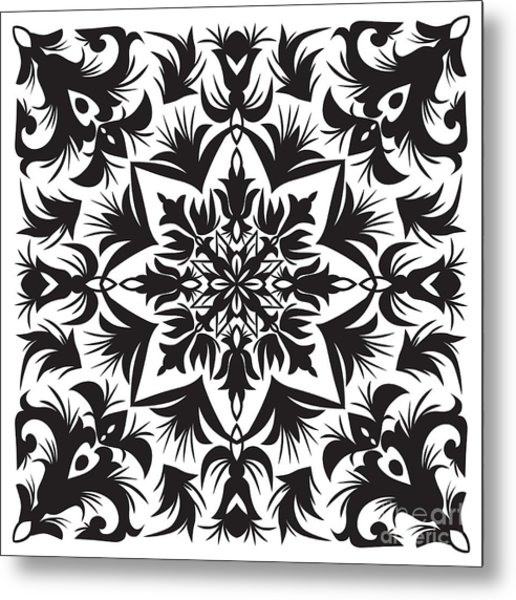 Hand Drawing Pattern For Tile In Black Metal Print