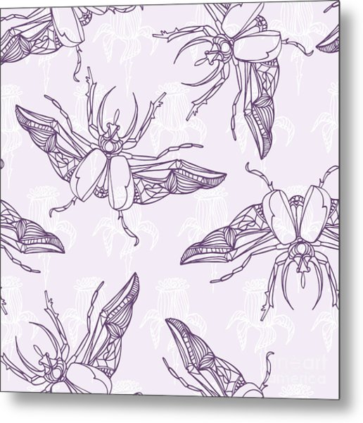 Hand Drawn Beetles Seamless Pattern Metal Print