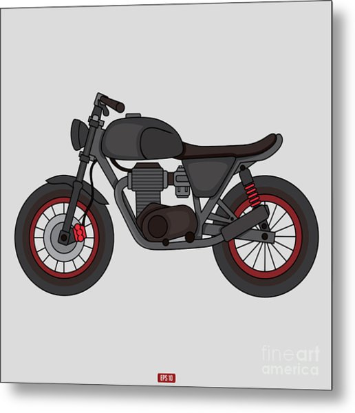 Hand Drawn Classic Motor Illustration Metal Print