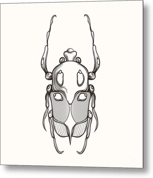 Hand Drawn Engraving Sketch Scarab Metal Print