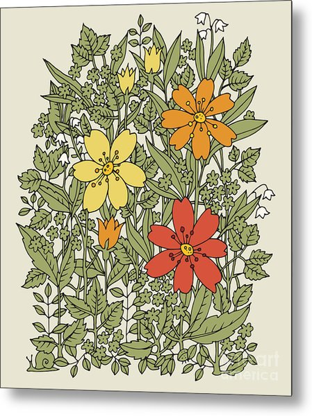 Hand Drawn Flowers On White Background Metal Print