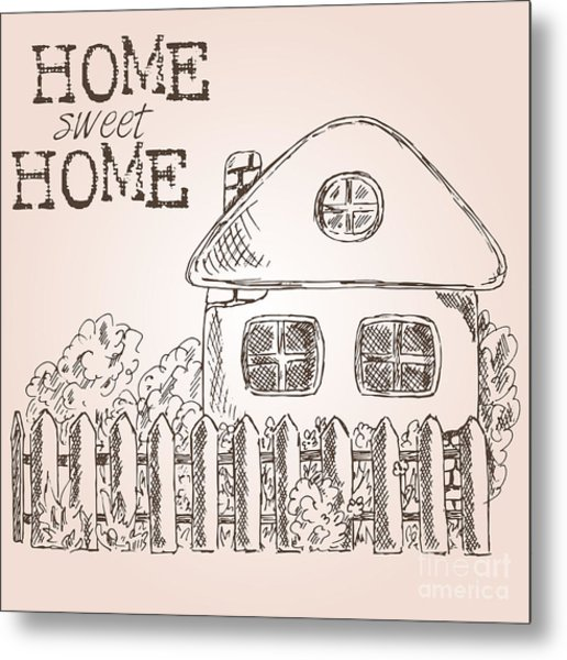 Hand Drawn Ink Sketch Home. Village Metal Print