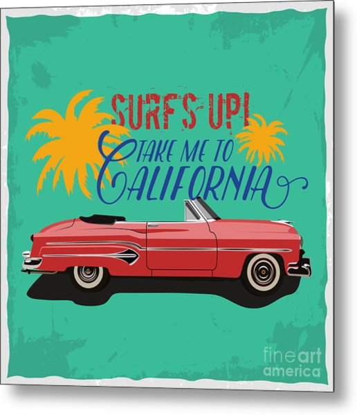 Hand Drawn Retro Car With A Text Take Metal Print