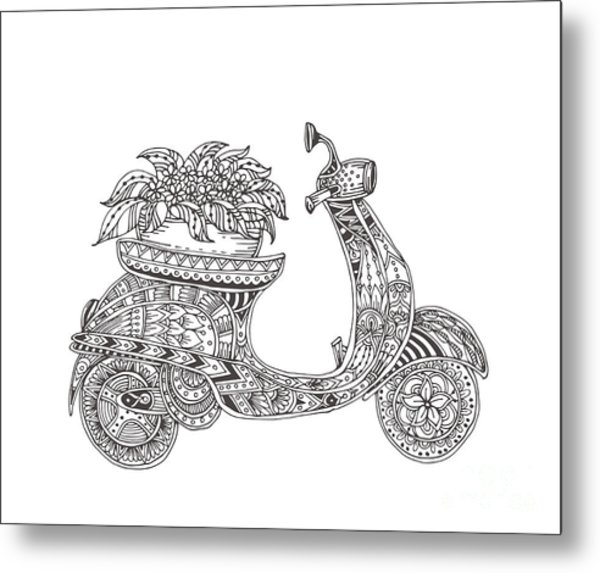 Hand-drawn Scooter With Ethnic Floral Metal Print