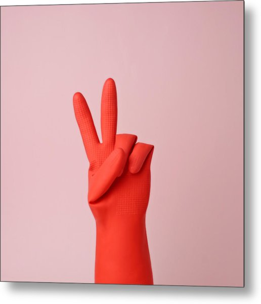 Hand In Red Rubber Glove Making Peace Metal Print