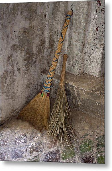 Hand Made Brooms At Shwe Yan Pyay Metal Print