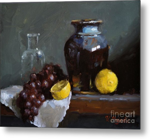 Hand-made Pottery With Fruits Metal Print