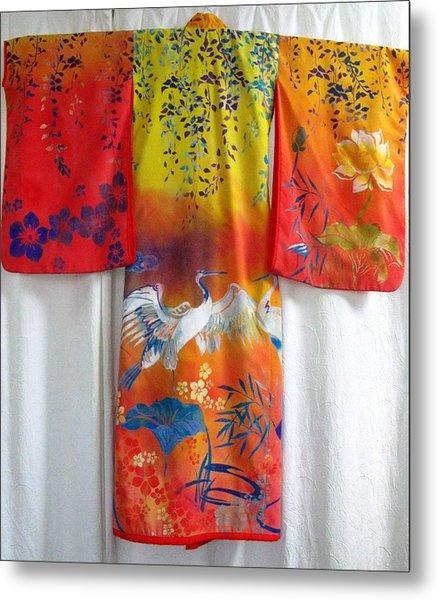 Hand-painred Kimono Metal Print