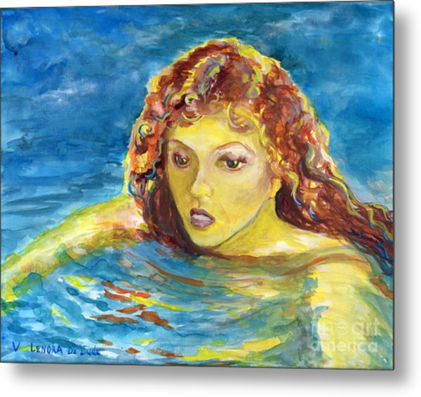 Hand Painted Art Adult Female Swimmer Metal Print