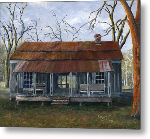Hand Painted Art Dogtrot House In Pleasant Hill Louisiana Metal Print