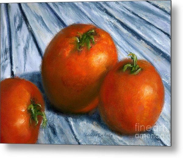Hand Painted Art Still  Life Tomatoes Metal Print