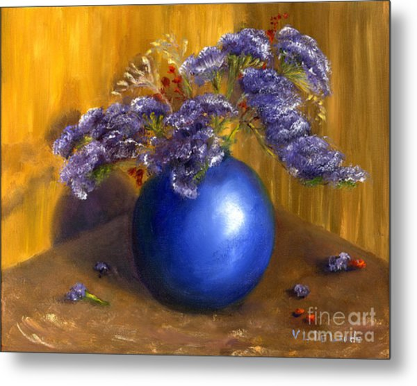 Hand Painted Still Life Blue Vase Purple Flowers Metal Print