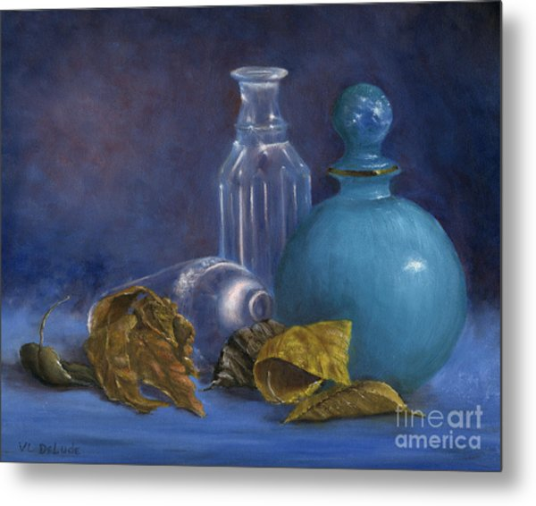 Hand Painted Still Life Bottles Leaves Metal Print