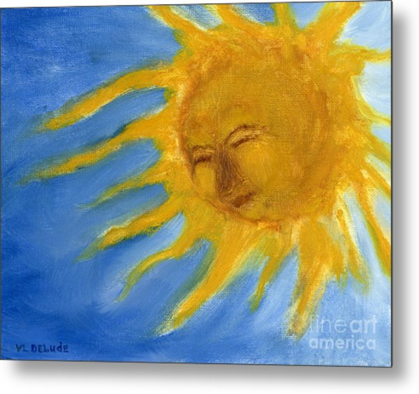 Hand Painted Sun Face Old Sol Metal Print