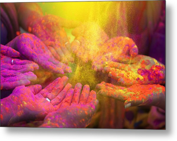 Hands And Colorful Powders Of The Holi Festival Metal Print by Mammuth