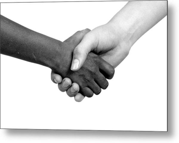Handshake Black And White Metal Print