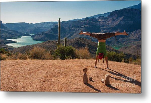 Handstand At Apache Lake Metal Print