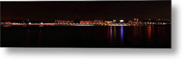 Hangang And Seoul Night Scene Panorama Metal Print by Phoresto Kim