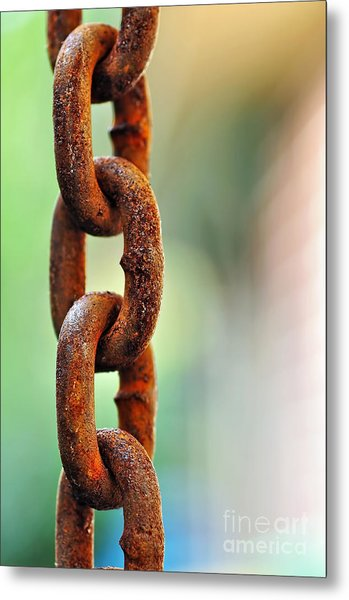 Hanging Chain Before Pastel Bokeh Metal Print