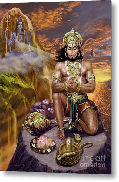 Hanuman Receives Lord Shiva's Blessings Metal Print