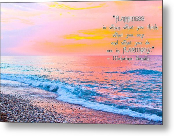 Happiness Quote Mahatma Gandhi  Metal Print