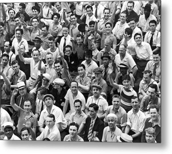Happy Baseball Fans In The Bleachers At Yankee Stadium. Metal Print