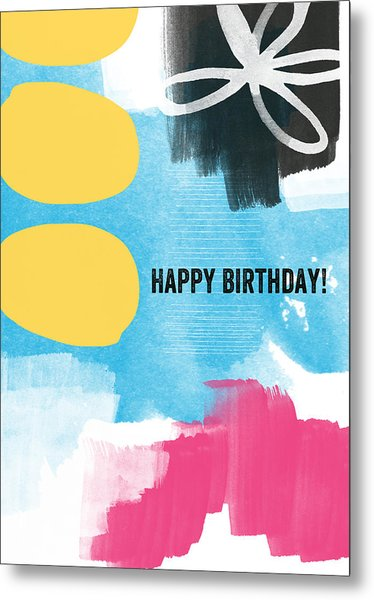 Happy Birthday- Colorful Abstract Greeting Card Metal Print