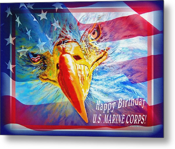 Metal Print featuring the painting Happy Birthday Marine Corps by Donna Proctor