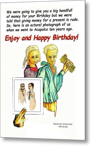 Happy Birthday Office Memo Employee Metal Print