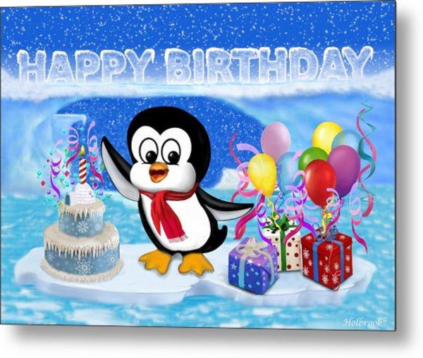 Happy Birthday Penguin Metal Print
