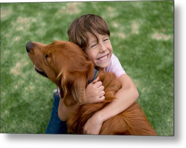 Happy Boy With A Beautiful Dog Metal Print by Andresr