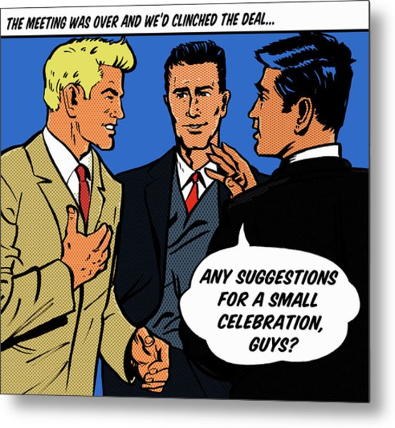 Happy Businessmen With Speech Bubble Metal Print