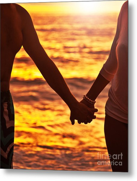 Happy Couple Holding Hands  Metal Print by Anna Om