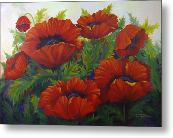 Happy Dance Red Poppies Metal Print