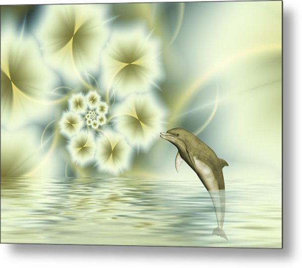 Happy Dolphin In A Surreal World Metal Print