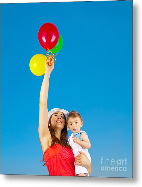 Happy Family With Air Balloons Metal Print by Anna Om