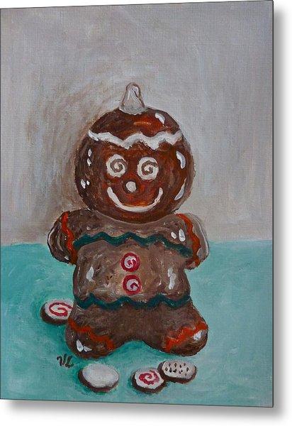 Happy Gingerbread Man Metal Print