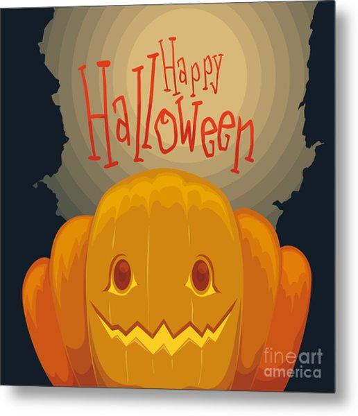 Happy Halloween Pumpkin Poster With Metal Print