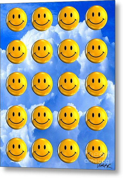 Happy Happy Sunshine Day Bubble Smile Smiley Poster Print Original Signed Art Metal Print