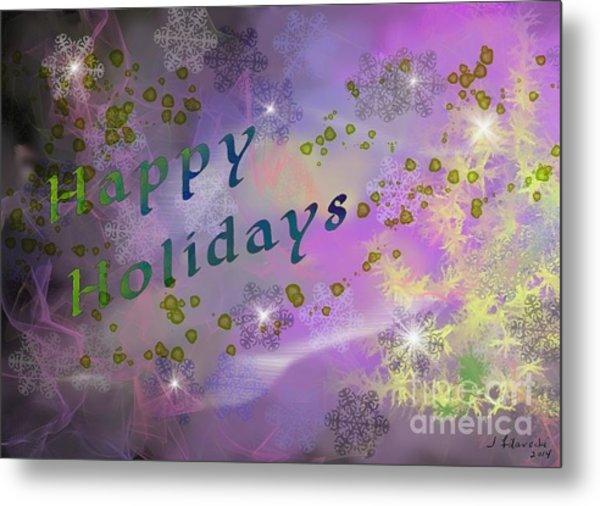Happy Holidays Card Metal Print by Judy Filarecki