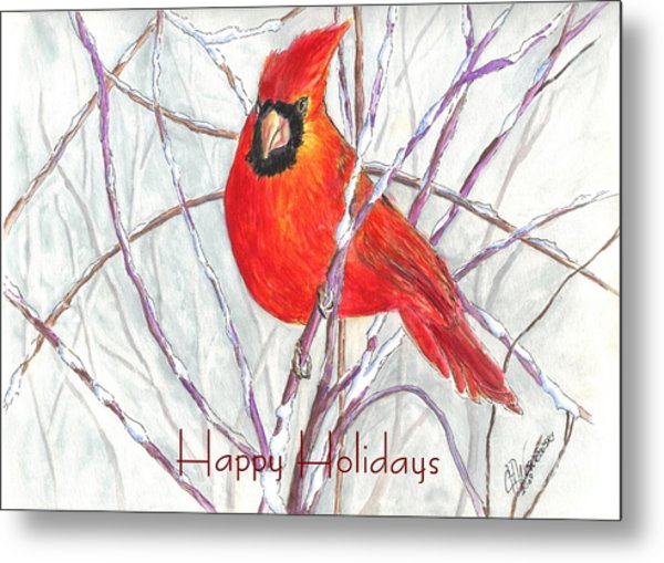 Happy Holidays Snow Cardinal Metal Print