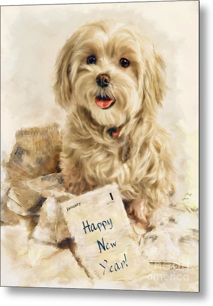 Maltese Happy New Year Metal Print