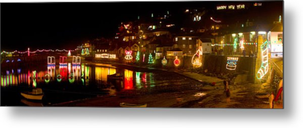 Happy New Year Mousehole Christmas Lights Metal Print