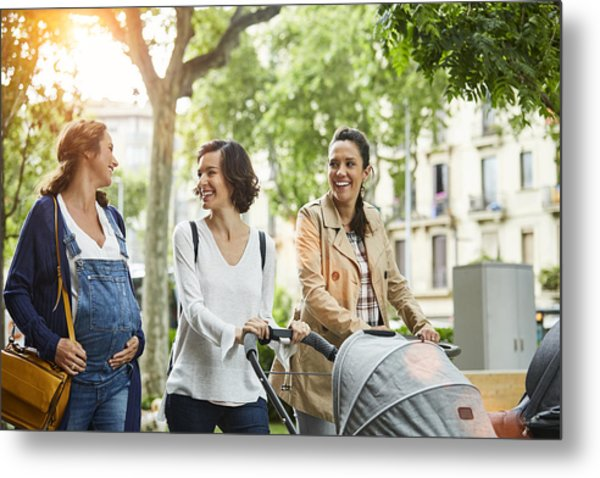 Happy Pregnant Woman With Friends In Park Metal Print by Morsa Images