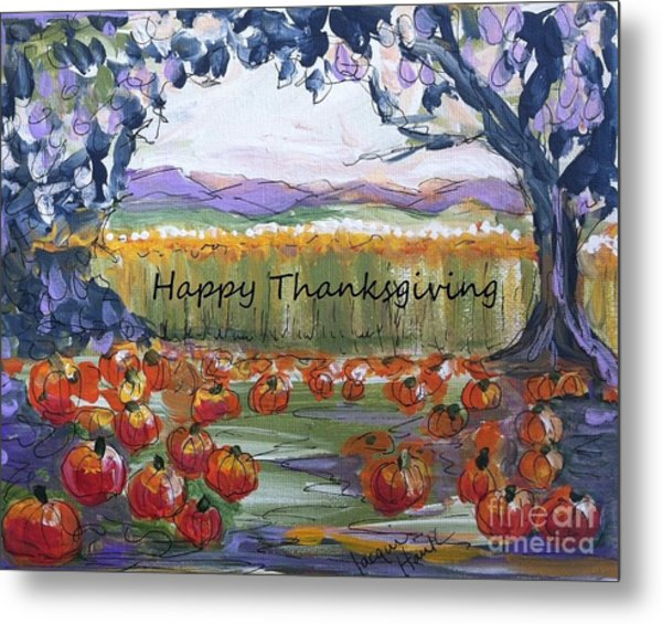 Happy Thanksgiving Greeting Card Metal Print