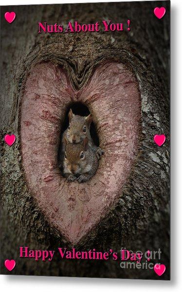 Happy Valentine Squirrels Metal Print