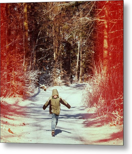 Happy Young Boy Running In The Winterly Forest Metal Print